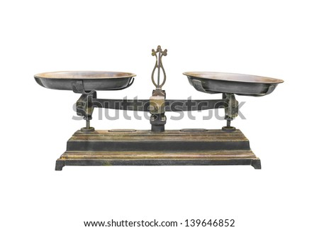 Antique iron scale Isolated on white background.With clipping path