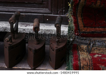 Antique irons which they are coal fired and cast iron
