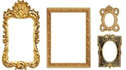 antique isolated golden picture frame