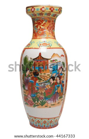 Antique Japanese vase. Isolated on white, with clipping path.