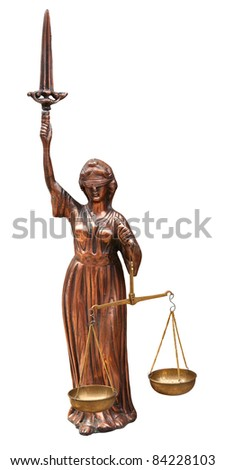 Antique justice statue isolated on white. Clipping path included.