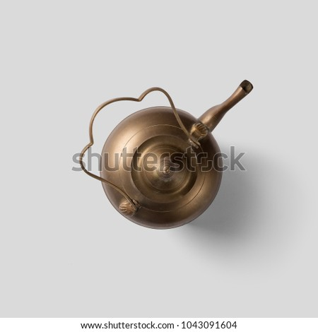 Antique kettle vintage saucer,white background, top view.Antique saucer.Antique teapot.Antique kettle - Shutterstock ID 1043091604