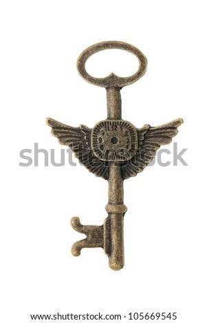 Antique key isolated on white background