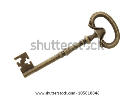 Antique key isolated on white background
