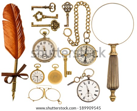 antique keys  clock  ink pen ...