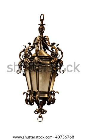 antique lantern isolated on white background