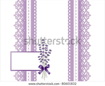 Antique Lavender Lace Present. Victorian style gift wrapping, violet flower bouquet, white background. Gift card with copy space for Mother's Day, birthdays, anniversaries, showers and weddings.