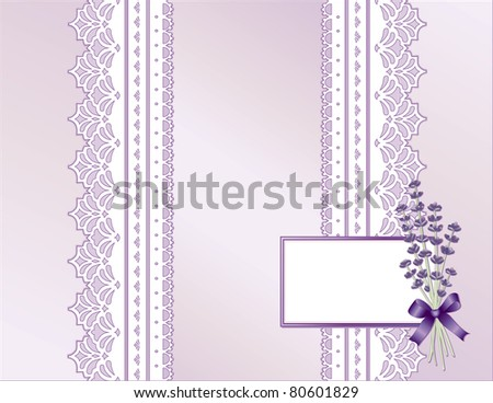 Antique Lavender Satin Lace Present. Victorian style gift wrap, flower bouquet, violet ribbon, bow. Gift card, copy space for Mother's Day, birthdays, anniversaries, showers, weddings.