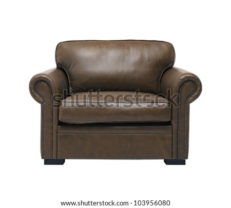 antique leather armchair isolated on white background