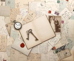 antique letters and postcards, old wedding photo. nostalgic vintage background