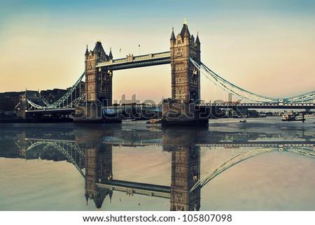 Antique London Bridge - stock photo