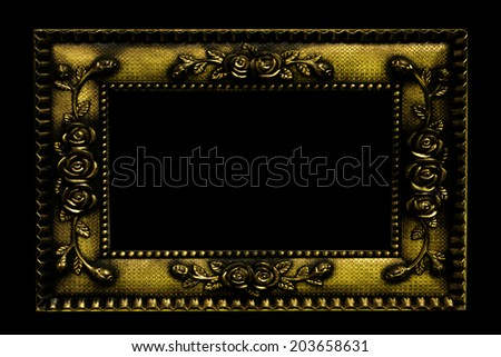 Antique look, rose gold color picture frame isolated on black
