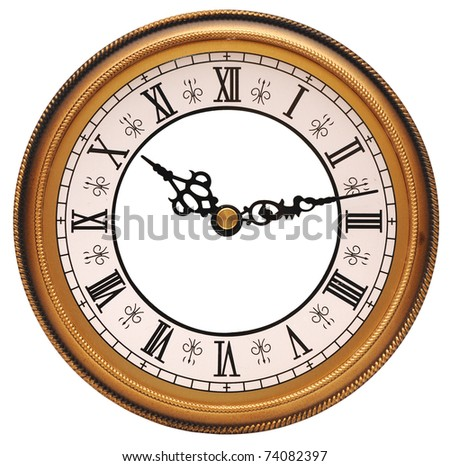Antique looking clock face on white
