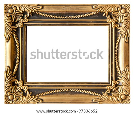 antique love gold frame isolated on white