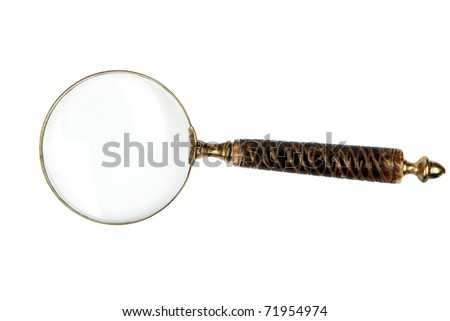 Antique magnifier isolated on white background with clipping path. Retro object.