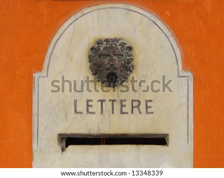 Antique mailbox with venetian lion in Padua, Italy