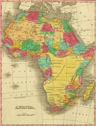 Antique map of Africa.From Atlas by Anthony Finley, 1831