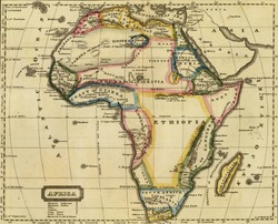 Antique map of Africa.From Atlas by John Thomson, 1817.