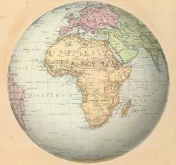 Antique map of Africa on the globe. From Atlas by F. A. Garnier, 1862.