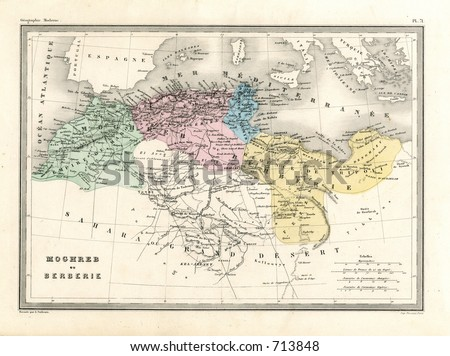 Antique Map of Barbary Coast of North Africa - stock photo