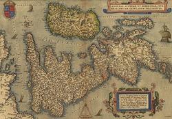 Antique Map of Britain,  by Abraham Ortelius, circa 1570