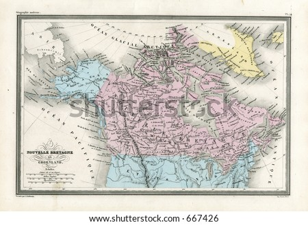 Antique Map of Canada and Alaska 1860