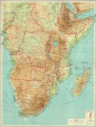 Antique map of Central & Souther.  Africa.From Atlas by Bartholomew and Son, 1922.