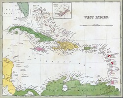 Antique map of Cuba and the Caribbean  from the out of print 1841 Goodrich atlas