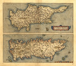Antique Map of Cyrpus, Candia and Crete by Abraham Ortelius, circa 1570. Eastern Mediterranean