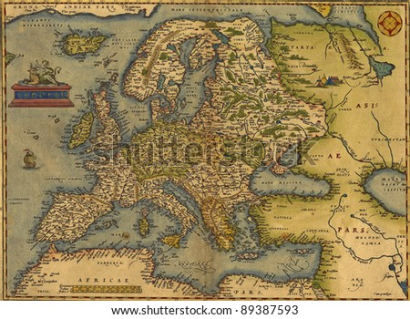 Antique Map of Europe,  by Abraham Ortelius, circa 1570