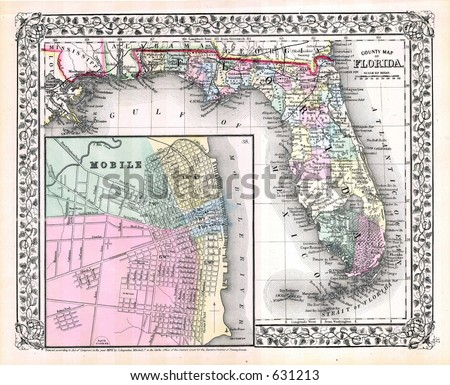 Antique Map of Florida in 1870