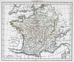 Antique map of France, line colored, dated 1827.