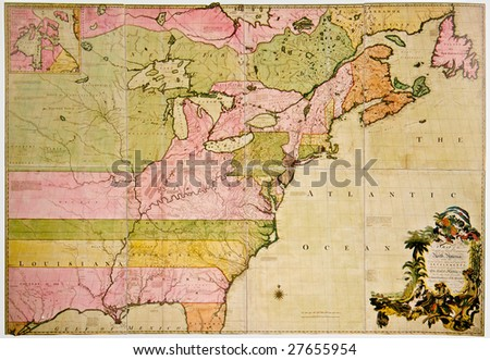Antique map of French and British Dominions in North America. Photo from old reproduction