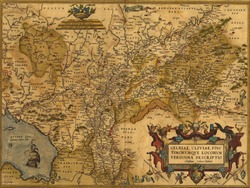 Antique Map of Germany and the Netherlands by Abraham Ortelius, circa 1570