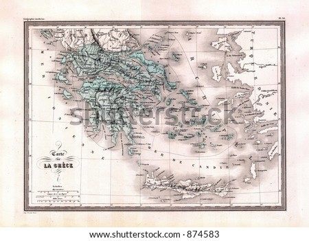Antique 1870 Map of Greece