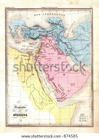 Antique 1870 Map of Holy Land