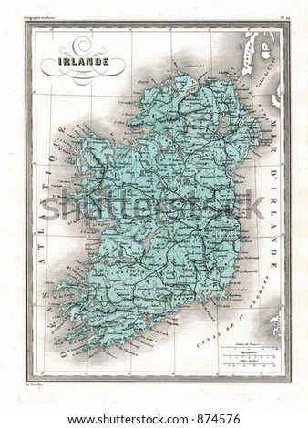 Antique 1870 Map of Ireland