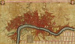 Antique map of London, Southwark asnd Westminster, Atlas of fortifications and battles, by Anna Beek and Gaspar Baillieu  Originally published in 17th century.