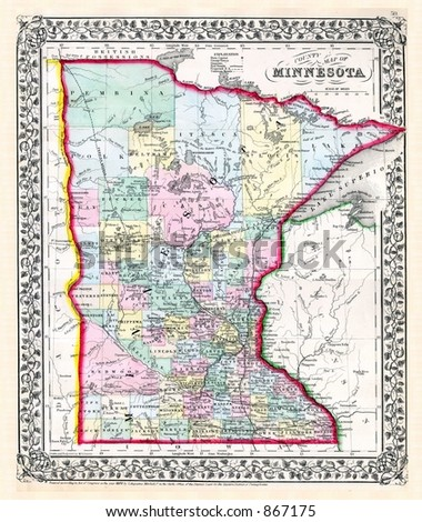 Antique 1870 Map of Minnesota - stock photo