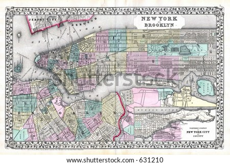 Antique Map of New York City and Brooklyn in 1870