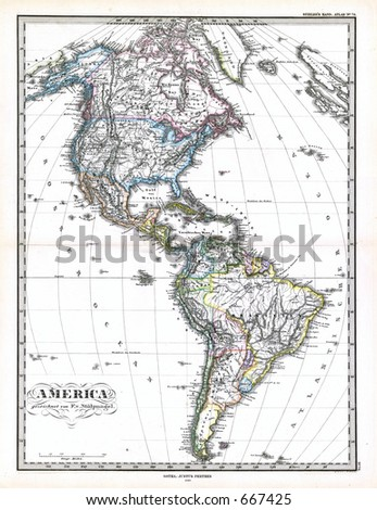 Antique Map of North and South America 1870
