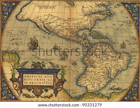 antique map of north and south...