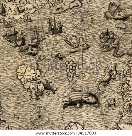 Antique map of Northen Sea (1572, fragment)