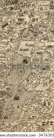 Antique map of Northen Sea (1572, fragment_2) - stock photo