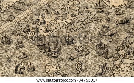 Antique map of Northen Sea (1572, fragment_4)