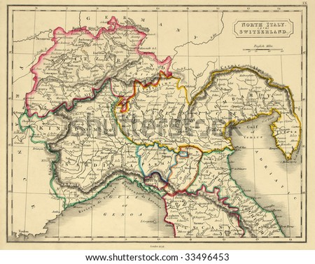 Antique map of northern Italy, line colored, dated 1829.