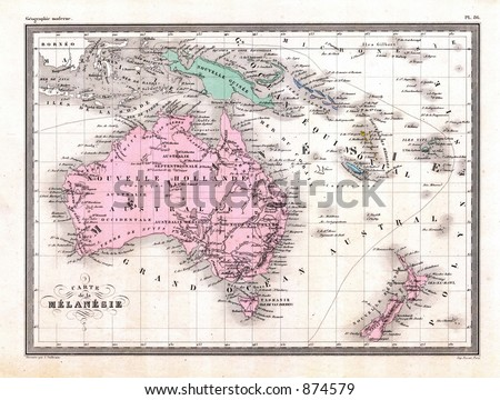 antique 1870 map of oceania...