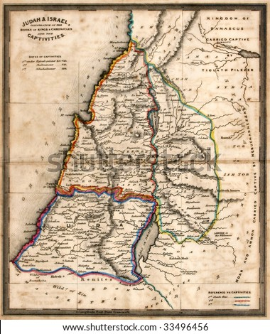 Antique map of old Israel, line colored, dated 1836.