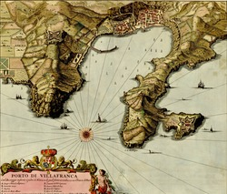 Antique map of Port of Villafranca from the Atlas of fortifications and battles, by Anna Beek and Gaspar Baillieu  Originally published in 17th century.