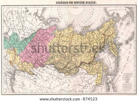 Where Is Siberia On A World Map.Antique 1875 Map Of Russia Siberia Ez Canvas
